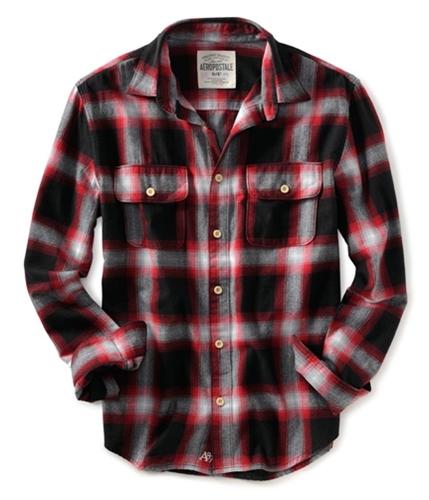 Aeropostale Mens Flannel Button Up Shirt black M