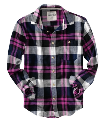 Aeropostale Mens Flannel Down Embroidered A87 Button Up Shirt pinkbl S
