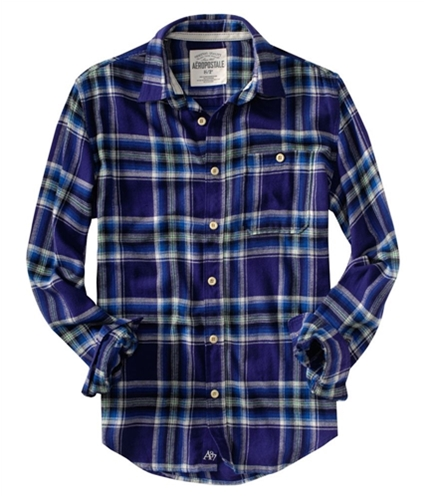 Aeropostale Mens Flannel Down Embroidered A87 Button Up Shirt purpbl L