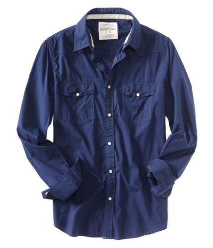 Aeropostale Mens Solid Snap Button Up Shirt deepnavyblue L
