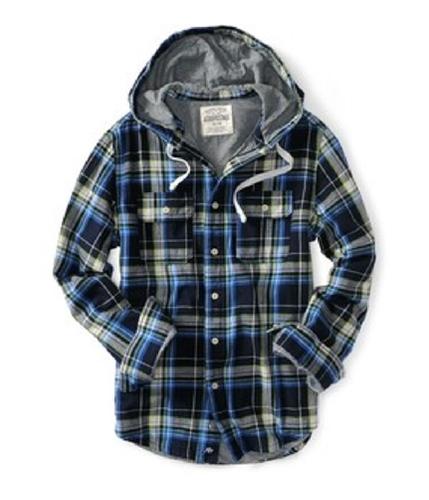 Aeropostale Mens Flannel Long Button Hoodie Sweatshirt deepna S