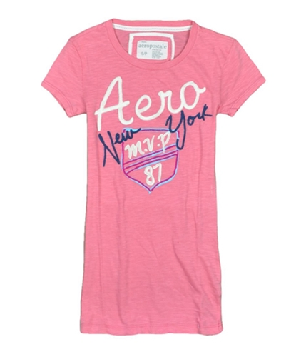 Aeropostale Womens Embroidered M.v.p 87 Graphic T-Shirt pinkdawn S
