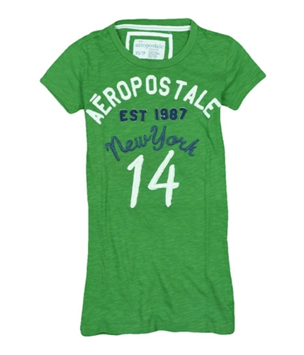 Aeropostale Womens New York 14 Embroidered Graphic T-Shirt leafgreen XS