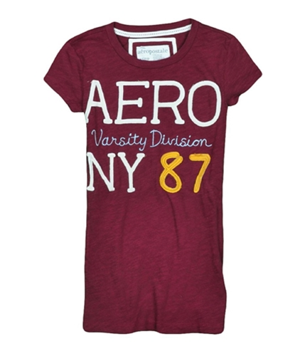 Aeropostale Womens Embroidered Varsity Graphic T-Shirt auburnburgundy XS