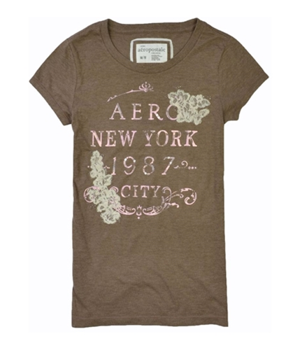 Aeropostale Womens Sequence Floral Graphic T-Shirt brownlight M