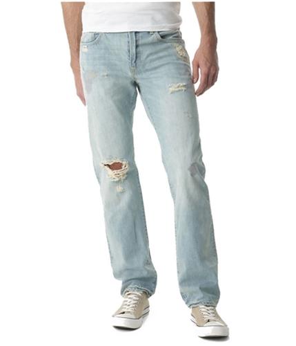 Aeropostale Mens Essex Tattered Straight Leg Jeans lightw 27x28