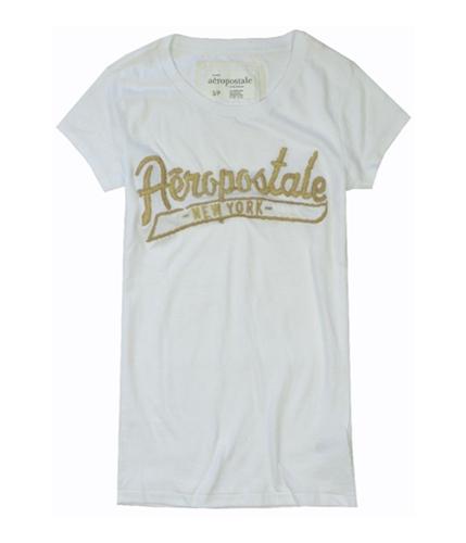 Aeropostale Womens New York Embroidered Graphic T-Shirt bleachwhite S