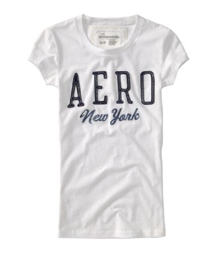 Aeropostale Womens New York Embroidered Graphic T-Shirt bleachwhite XS