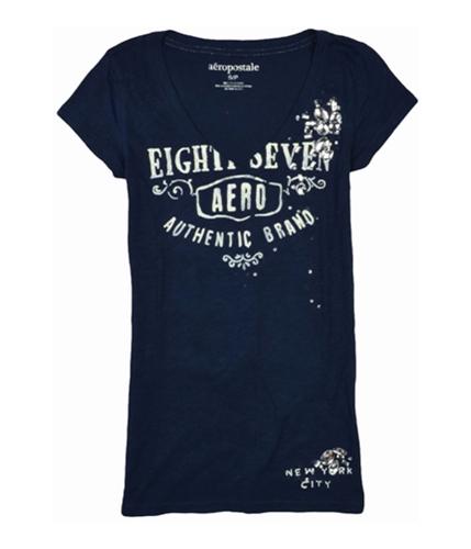 Aeropostale Womens Jeweled V-neck Graphic T-Shirt navyblue S