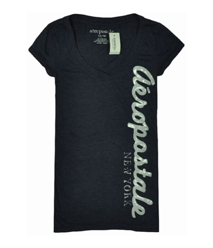 Aeropostale Womens V-neck Sequence Graphic T-Shirt navyblue XS