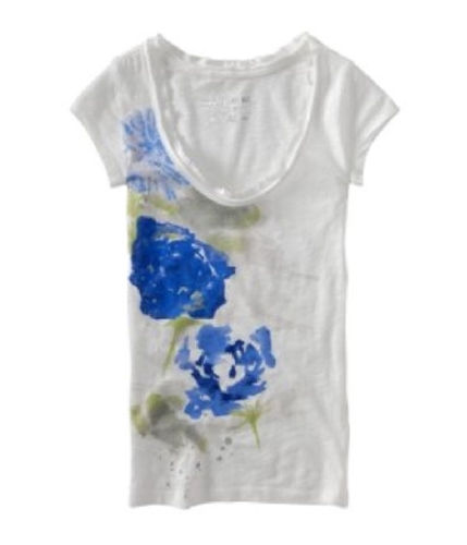 Aeropostale Womens Water Paint Graphic T-Shirt bleachwhite S
