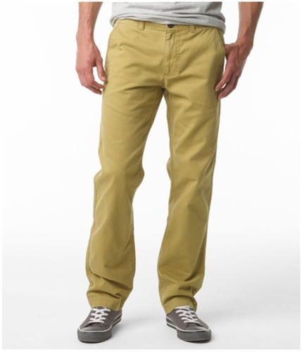 Aeropostale Mens Solid Flat Front Casual Trouser Pants cowboytan 28x30