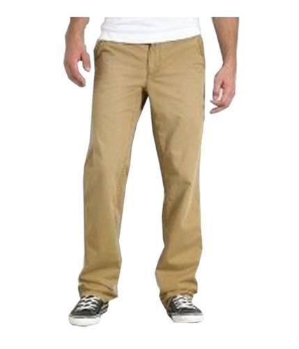 Aeropostale Mens Slim Fit Drawstring Slant Pocket Casual Chino Pants tan 27x28