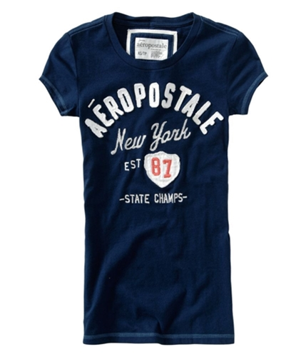 Aeropostale Womens Embroidered New York Graphic T-Shirt navynightblue XS
