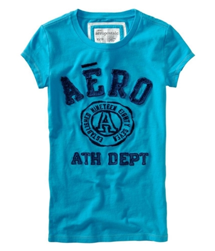 Aeropostale Womens Embroidered Ath Dept Graphic T-Shirt curacaoaqua XS
