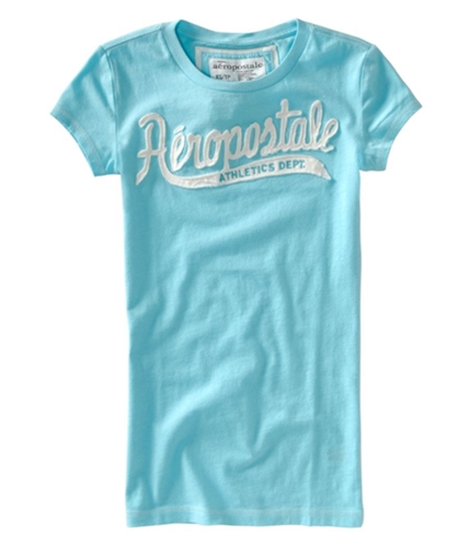 Aeropostale Womens Embroidered Crew Graphic T-Shirt waterdaqua XS