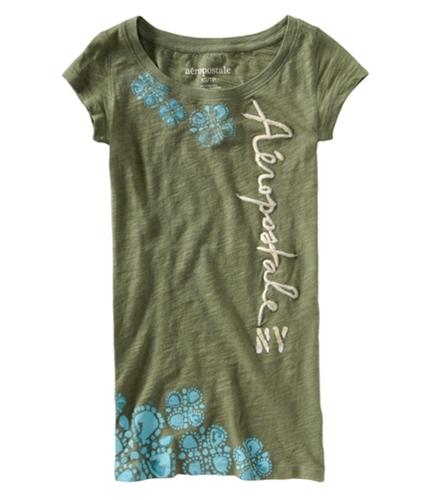 Aeropostale Womens Floral Print Graphic T-Shirt herbgreen XS