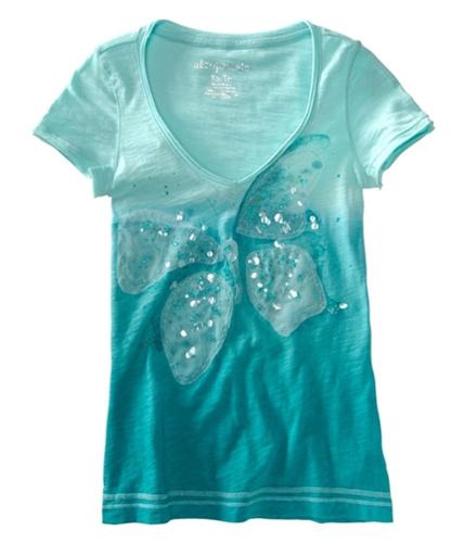 Aeropostale Womens Sequence Butterfly V-neck Graphic T-Shirt tealli XS