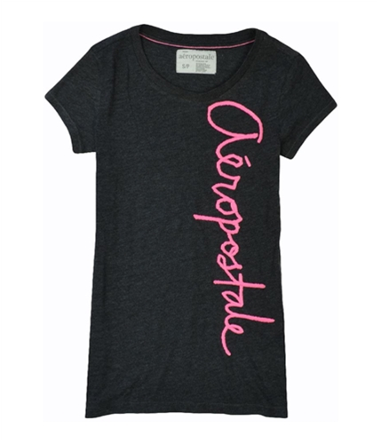 Aeropostale Womens Neon Embroidered Graphic T-Shirt black XS