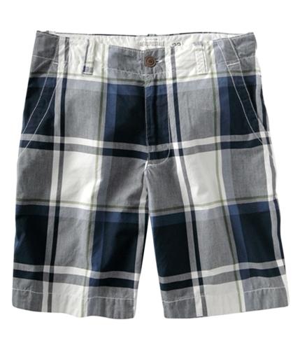 Aeropostale Mens Plaid Stripe Flat-front Casual Walking Shorts bluedeepna 27