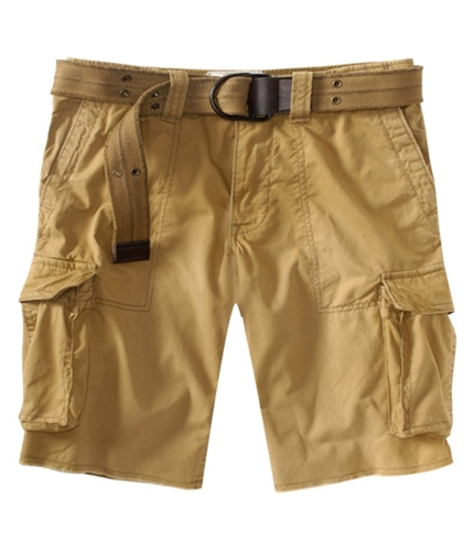 Aeropostale Mens Belted Casual Cargo Shorts goldenbrown 27