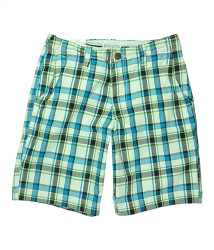 Aeropostale Mens Plaid Khaki Casual Chino Shorts bahamablue 27