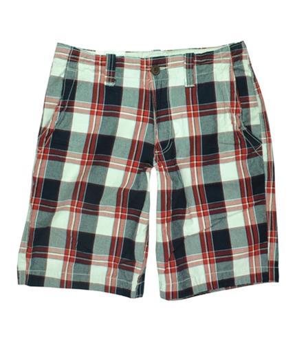 Aeropostale Mens Plaid Khaki Casual Chino Shorts redbright 28