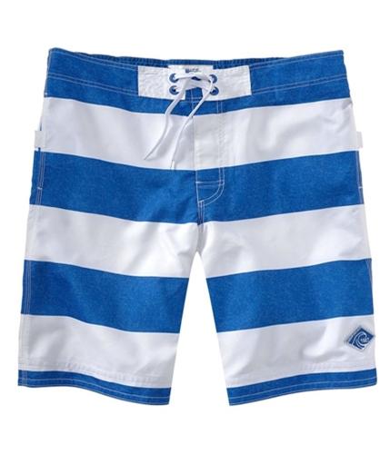 Aeropostale Mens Stripe Embroidered Swim Bottom Board Shorts activeblue XL