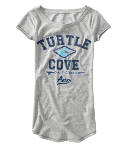 Aeropostale Womens Turtle Cove Embroidered Graphic T-Shirt lththrgray XS