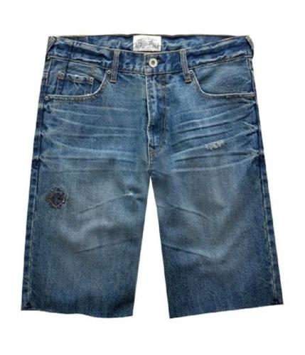 Aeropostale Mens Cut-off Distressed Casual Denim Shorts denimblue 34