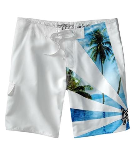 Aeropostale Mens Palm Embroidered Swim Bottom Board Shorts bleachwhite 29