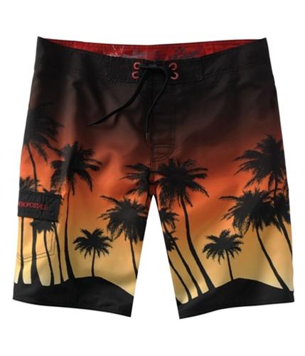 Aeropostale Mens Palm Tree Swim Bottom Board Shorts black 28
