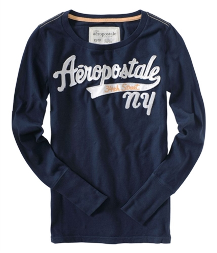 Aeropostale Womens Long Sleeve Embroidered Graphic T-Shirt navyblue M