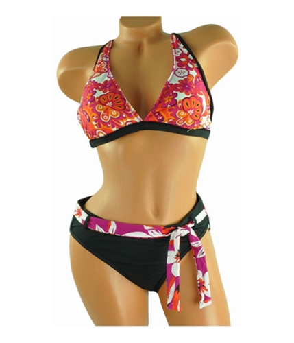Jag Womens Floral Reversible 2 Piece Bikini black XL