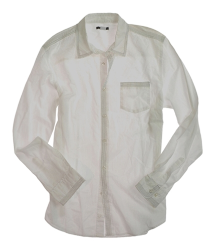 bar III Mens Stitched Button Up Shirt white L