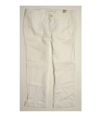 Hollister Womens Hco Light Weight Linen Blend Casual Trouser Pants white 1x26