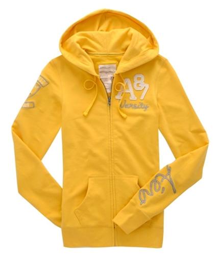 Aeropostale Womens Embroidered A87 Hoodie Sweatshirt blondeyellow XS