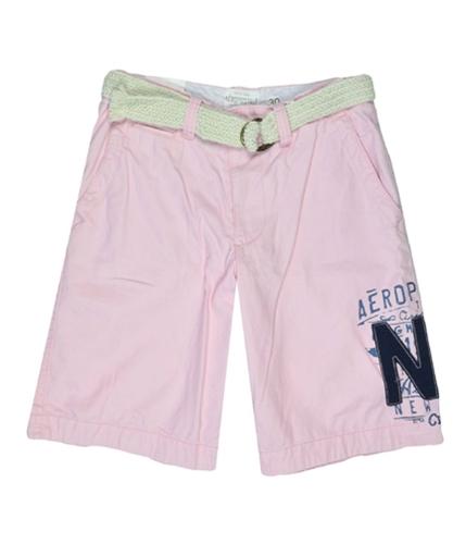 Aeropostale Mens Flat Belt Casual Walking Shorts pink 33