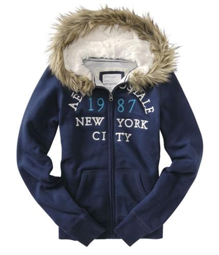 Aeropostale Womens New York City Fur Hoodie Sweatshirt navyblue XS