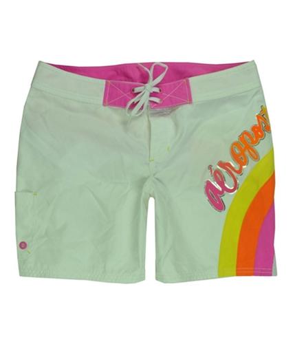 Aeropostale Womens Polyester Rainbow Swim Bottom Board Shorts bleachwhite M