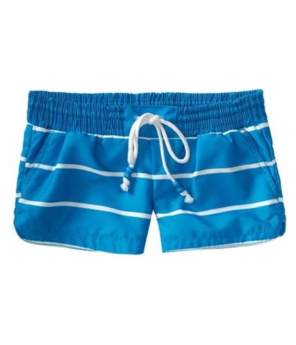 Aeropostale Womens Stripe Swim Bottom Board Shorts blues L