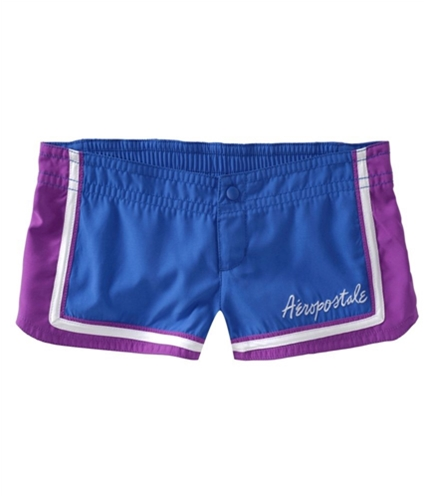 Aeropostale Womens Embroidered Swim Bottom Board Shorts bluedk S