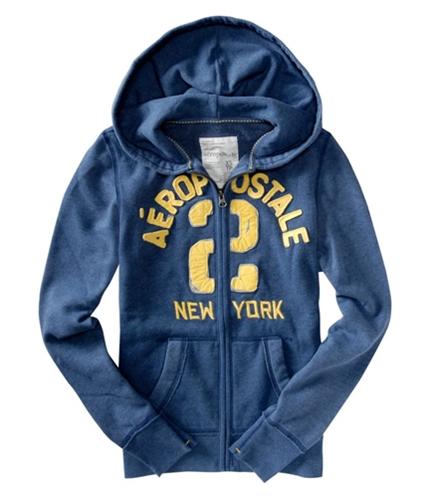 Aeropostale Womens #2 Hoodie Sweatshirt steelblue L