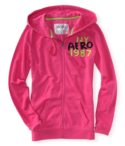 Aeropostale Womens Ny Aero 1987 Zip Up Hoodie Sweatshirt pink66 XS