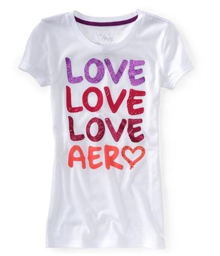 Aeropostale Womens Love Rhinestone Graphic T-Shirt bleach M