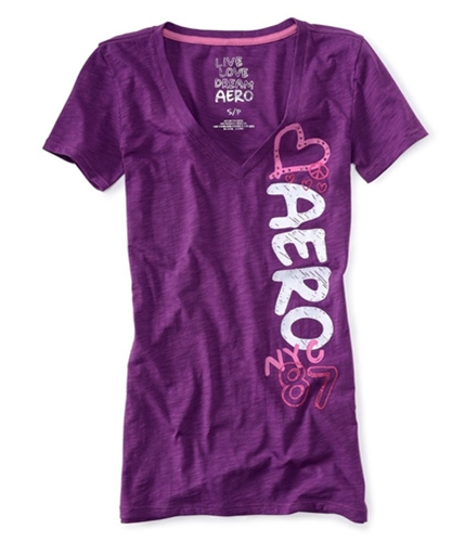 Aeropostale Womens Rhinestone Heart Peace Sign Pajama Sleep T-shirt violet S