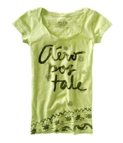 Aeropostale Womens Flowered Embroidered Graphic T-Shirt honeydewgreen XS