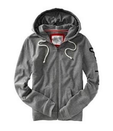 Aeropostale Womens Zip Up Hoodie Sweatshirt mediumgray XS