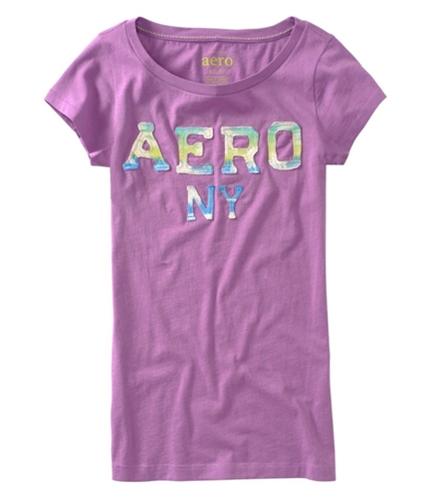 Aeropostale Womens Embroidered Aero Ny Graphic T-Shirt plumda S