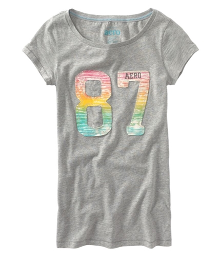 Aeropostale Womens Embroidered 87 Graphic T-Shirt lththrgray S